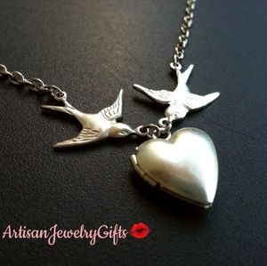 Sterling Silver Sparrows Heart Locket Necklace